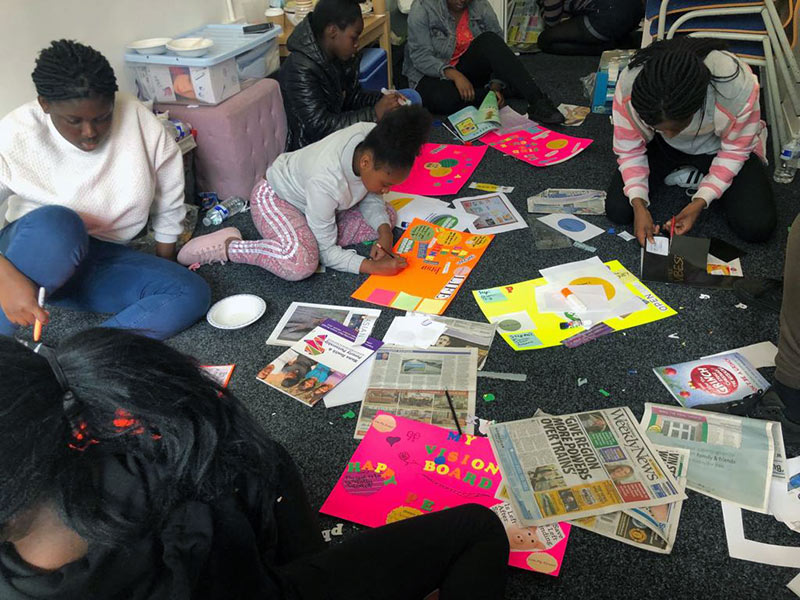 African Teenage Girls Craft Session